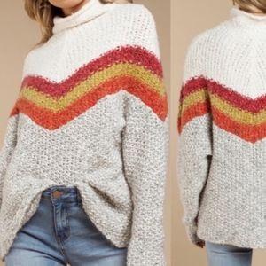 Free People Turn Around Tunic Sweater striped M